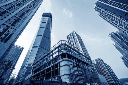 Hoogbouw in het financiële district van de stad, Jinan, China. Stockfoto