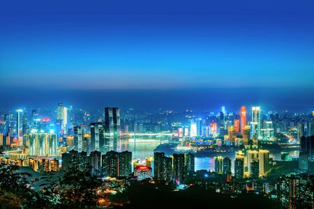 High-rise mountain city night, China's western city of Chongqing. 版權商用圖片