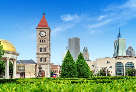 Italian-style buildings and bell tower, Tianjin, China.