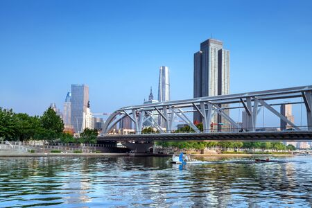 Cityscape along the Haihe River, Tianjin, China.