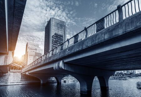 Bridge and tall buildings in the southern new city, Ningbo, China. Standard-Bild