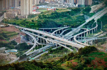The most complicated viaduct in Chongqing, China Stockfoto