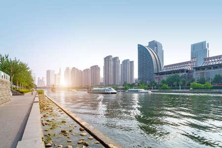 Urban architectural landscape in Tianjin, China Stockfoto