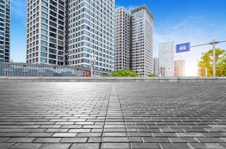 Marble platform and modern building, Fuzhou, China. Stockfoto