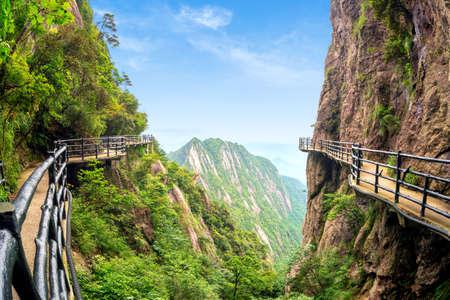 Beautiful mountains and human walkway, Jiangxi, China.