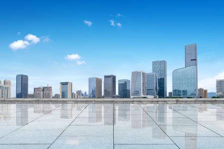 Marble platform and city skyline, skyscrapers in Fuzhou, China. Stockfoto