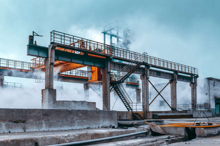 The exterior of the steel plant being produced
