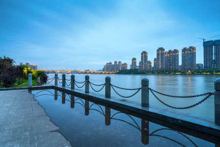Now the city skyline, Fuzhou, China. Stockfoto