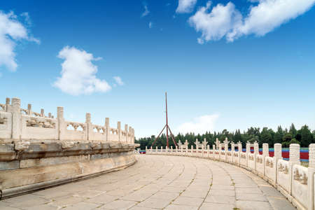 White marble fence in Tiantan Park, Beijing, China. Stockfoto