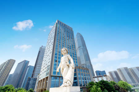 High-rise buildings in the financial district of the city, Shaoxing, China. Stockfoto