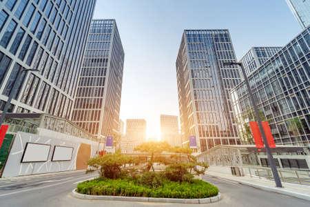 Dense skyscrapers and roads, Jinan CBD, China. Stockfoto