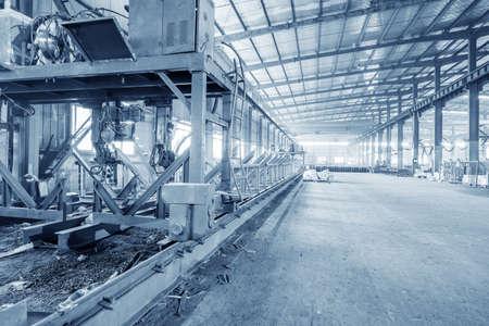 Empty steel structure factory workshop