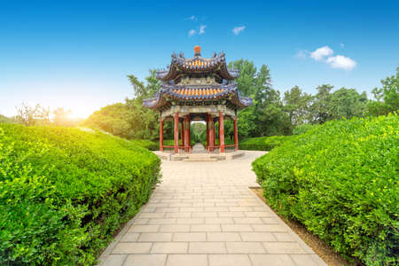 The historic building in Tiantan Park: Baihua Pavilion. Beijing China. Stockfoto