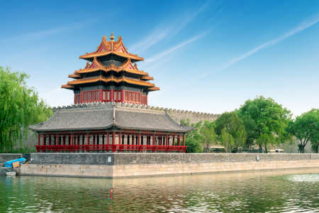 Beijing, China at the outer moat corner of the Forbidden City. Redactioneel