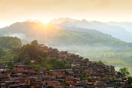 Early morning in the Xijiang Qianhu Miao Village, Guizhou, China.