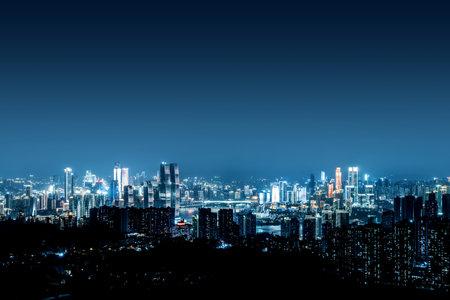 High-rise mountain city night, China's western city of Chongqing.