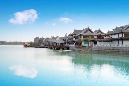 The commercial street by the sea, Haihua Island, Hainan, China.