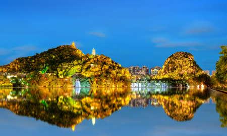 The scenery on both sides of the Liujiang River, the urban landscape of Liuzhou, Guangxi, China.
