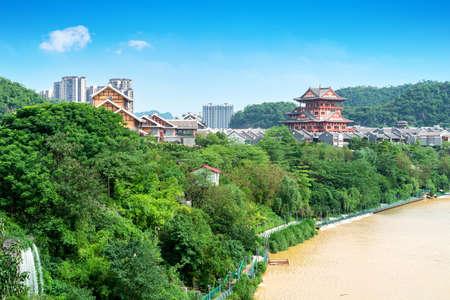 Scenery of Liujiang River, Liuzhou, Guangxi, China. Foto de archivo