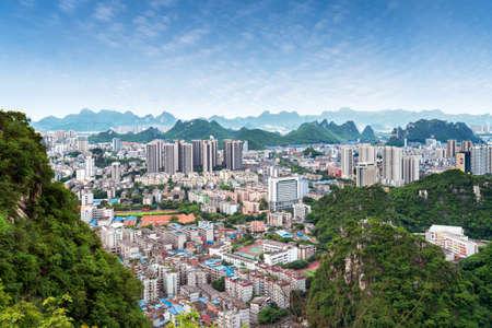 Aerial view of Liuzhou City, Guangxi, China