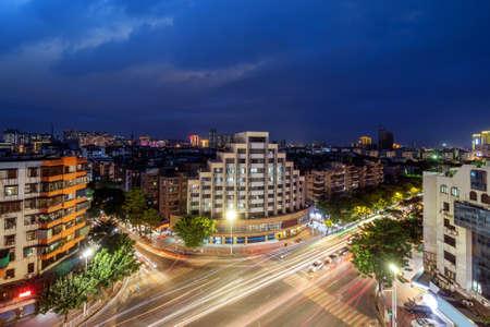 Small city night view, Shantou, Guangdong, China.