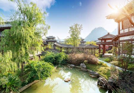 Beautiful summer, ancient city park in Guizhou, China.
