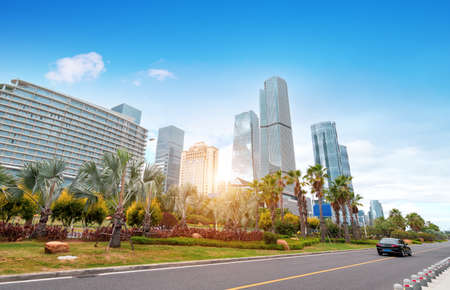 Central business district, roads and skyscrapers, Xiamen, China. Foto de archivo