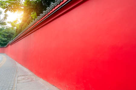 Red courtyard wall of Chinese classical palace Foto de archivo