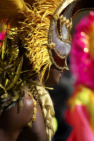 customs and celebrations: Man in costume nottinghill carnival london Stock Photo