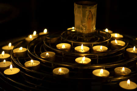 Candles lit as a prayer, Notre dame, cathedral, paris, france Stock Photo - 230738