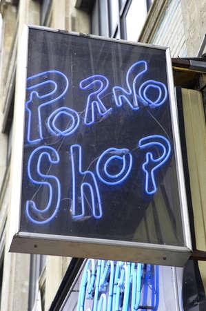 shop sign: Porno shop sign Stock Photo