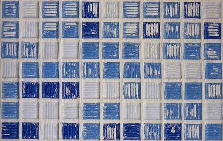 bad fliesen: Blaue und wei�e Quadrat Bad Fliesen