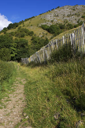 Walking path lined by picket fence in the English peak district photo