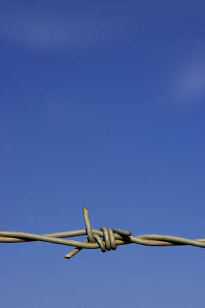 Detail of barbed wire fence against a blue sky with space for text Stock Photo - 237536