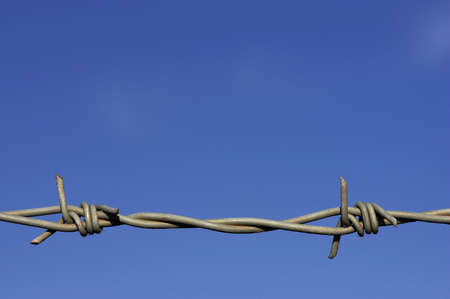 Detail of barbed wire fence against a blue sky with space for text Stock Photo - 237535