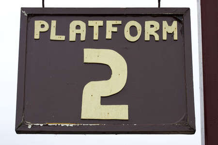 wood railroads: old weathered platform sign, chase valley steam railway, Cannock, uk Stock Photo