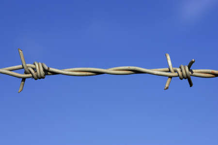 Detail of barbed wire fence against a blue sky with space for text Stock Photo - 239736