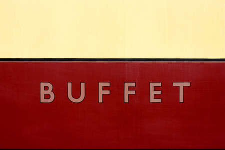 severn: Buffet car sign, severn valley railway, bewdley station, uk
