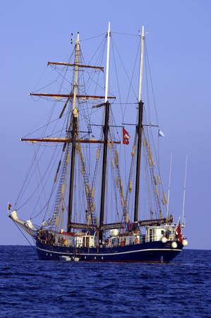 Three sail schooner, cala bona, mallorca, majorca, spain photo
