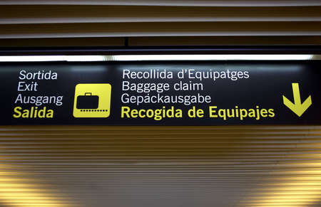 Baggage claim airport sign, palma airport, mallorca, majorca, spain Stock Photo - 251365