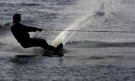 exhilaration: Water skier, Kingsbury water park, England, uk