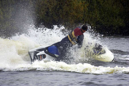 water skier: Single male jetskier, kingsbury water park, England, uk