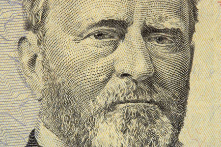 fifty dollar bill: president grant face on the fifty dollar bill