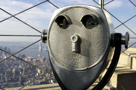 operated: coin operated binoculars, top of the empire state building, new york, America, usa