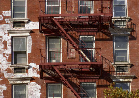 Metal fire escape, Manhattan, New York, America, USA Stock Photo - 274518
