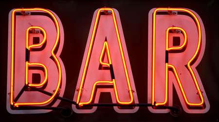 beverage display: Red neon bar sign, manhattan, new york, new york state, america, usa