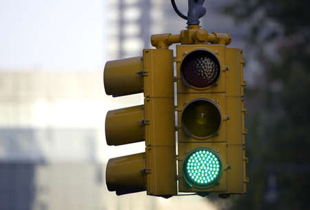 Traffic light on green, Manhattan, New York, America, USA photo