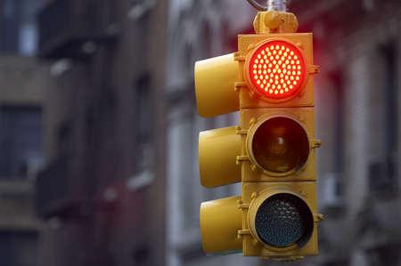Traffic light on red, Manhattan, New York, America, USA Stock Photo