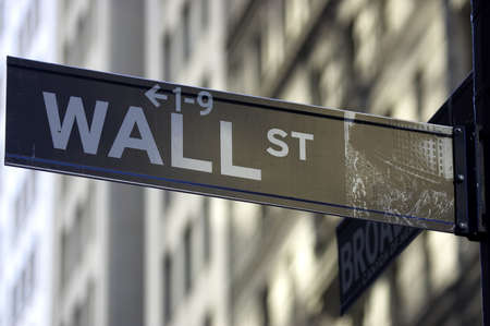 indicates: Wall street sign corner of broadway, the brown colour indicates the historic area, manhattan, new york city, America, usa