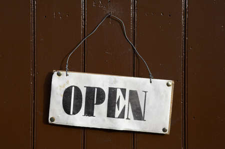 Open sign pinned onto a painted wooden door Stock Photo - 298502